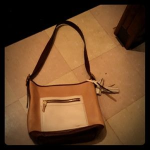 Cream and brown purse